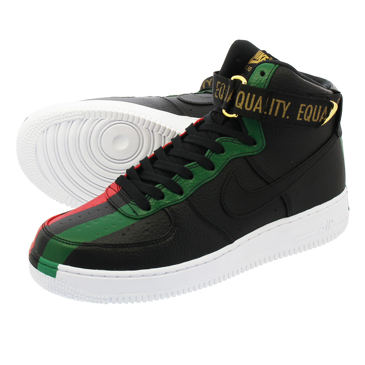 LOWTEX PLUS  NIKE AIR FORCE 1 HIGH BHM 2018 Nike air force 1 high BHM 2018  BLACK UNIVERSITY RED PINE GREEN 836 8e63da43e