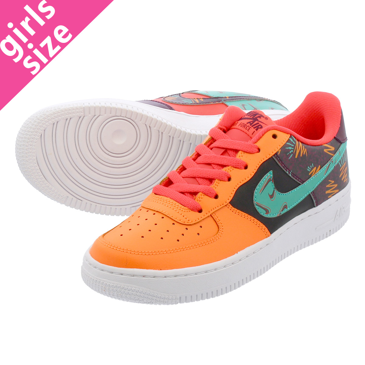 【大人気の女の子サイズ♪】 NIKE AIR FORCE 1 BG LOW 【WHAT THE 90S】 ナイキ エア フォース 1 BG ロー TOTAL ORANGE/BLACK/HYPER JADE/BORDEAUX at3407-600