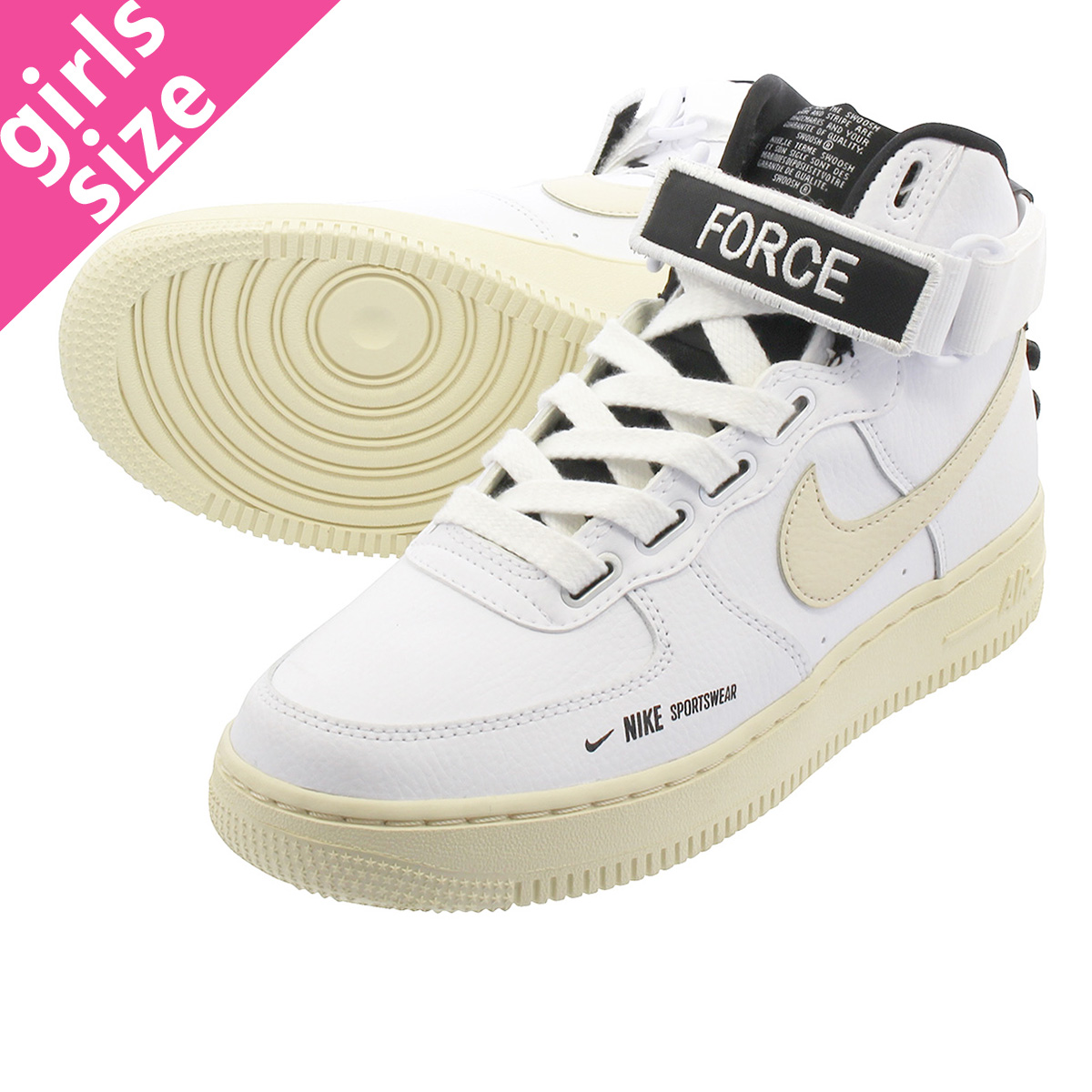 NIKE WMNS AIR FORCE 1 HI UTILITY Nike women air force 1 high utility WHITELIGHT CREAMBLACKWHITE aj7311 100