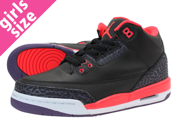 NIKE AIR JORDAN 3 RETRO GS BLACK/BRIGHT CRIMSON/CNYN PURPLE 【BRIGHT CRIMSON】