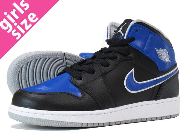 NIKE AIR JORDAN 1 MID GS Nike Air Jordan 1 mid GS BLACK/PLATINUM/ROYAL