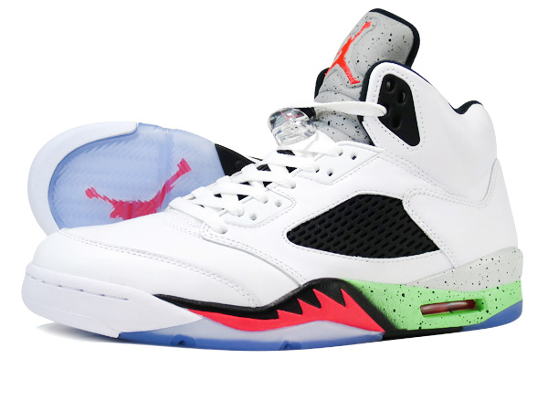acfb9f4ea350 NIKE AIR JORDAN 5 RETRO WHITE INFRARED 23 LIGHT POISON GREEN BLACK  PRO  STARS