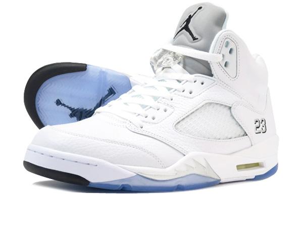 newest collection 0676c 2eec4 NIKE AIR JORDAN 5 RETRO Nike Air Jordan 5 nostalgic WHITE METALLIC SILVER BLACK  136,027-130