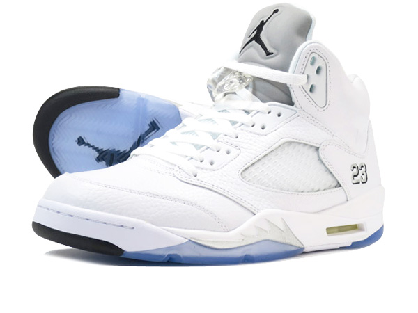3adc04b3289c5 LOWTEX PLUS  NIKE AIR JORDAN 5 RETRO Nike Air Jordan 5 nostalgic WHITE METALLIC  SILVER BLACK 136