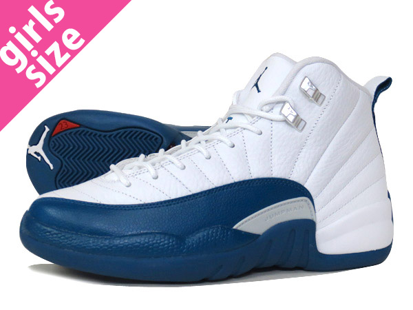 sports shoes 79c29 d6301 NIKE AIR JORDAN 12 RETRO BG WHITE BLUE METALLIC SILVER RED  FRENCH BLUE