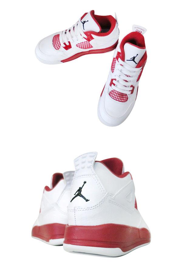 ca662678aa22 NIKE AIR JORDAN 4 RETRO BP Nike Air Jordan 4 nostalgic BP WHITE BLACK GYM RED  308