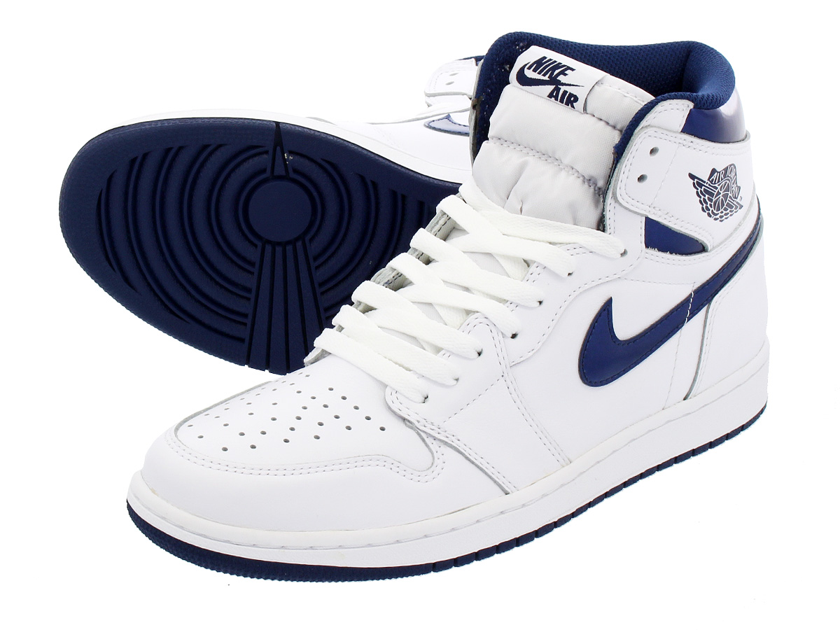 latest size 7 delicate colors NIKE AIR JORDAN 1 RETRO HIGH OG Nike Air Jordan 1 nostalgic high OG  WHITE/MIDNIGHT NAVY 555,088-106