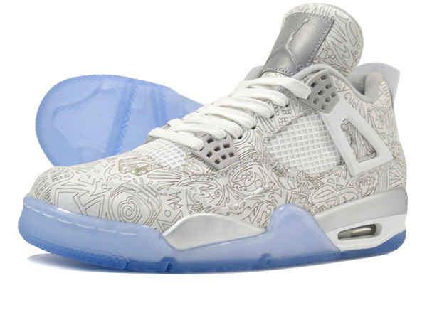 sale retailer 21a6c 1c57a NIKE AIR JORDAN 4 RETRO LASER WHITE CHROME METALLIC SILVER