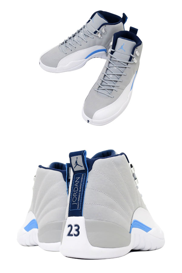 304730444b2 LOWTEX PLUS  NIKE AIR JORDAN 12 RETRO WOLF GREY WHITE NAVY BLUE ...