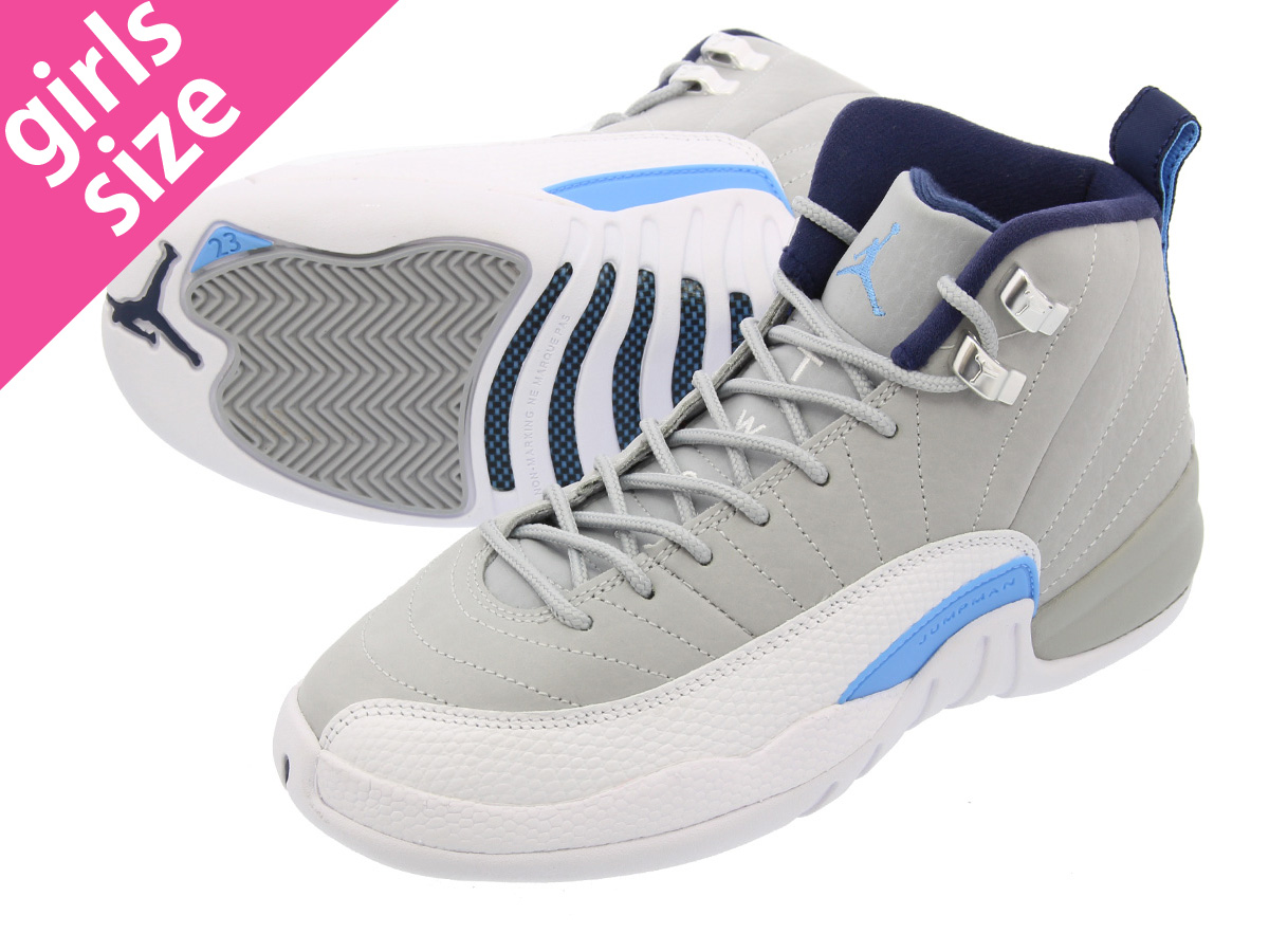 6556181bb9f NIKE AIR JORDAN 12 RETRO BG Nike Air Jordan 12 retro BG WOLF GREY WHITE NAVY  BLUE