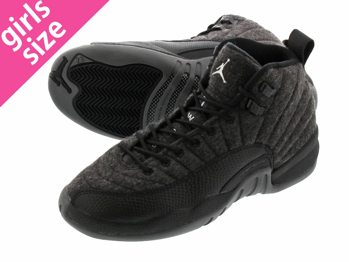 35358d3190c0e8 NIKE AIR JORDAN 12 RETRO WOOL BG Nike Air Jordan 12 retro wool BG DARK  GREY METALLIC SILVER BLACK