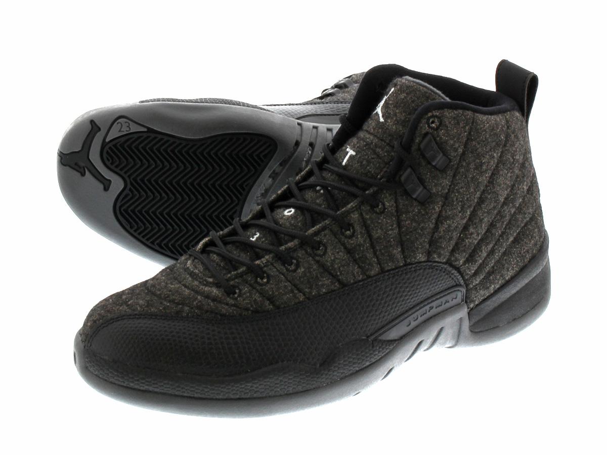 NIKE AIR JORDAN 12 RETRO WOOL Nike Air Jordan 12 retro wool DARK GREY/METALLIC  SILVER/BLACK