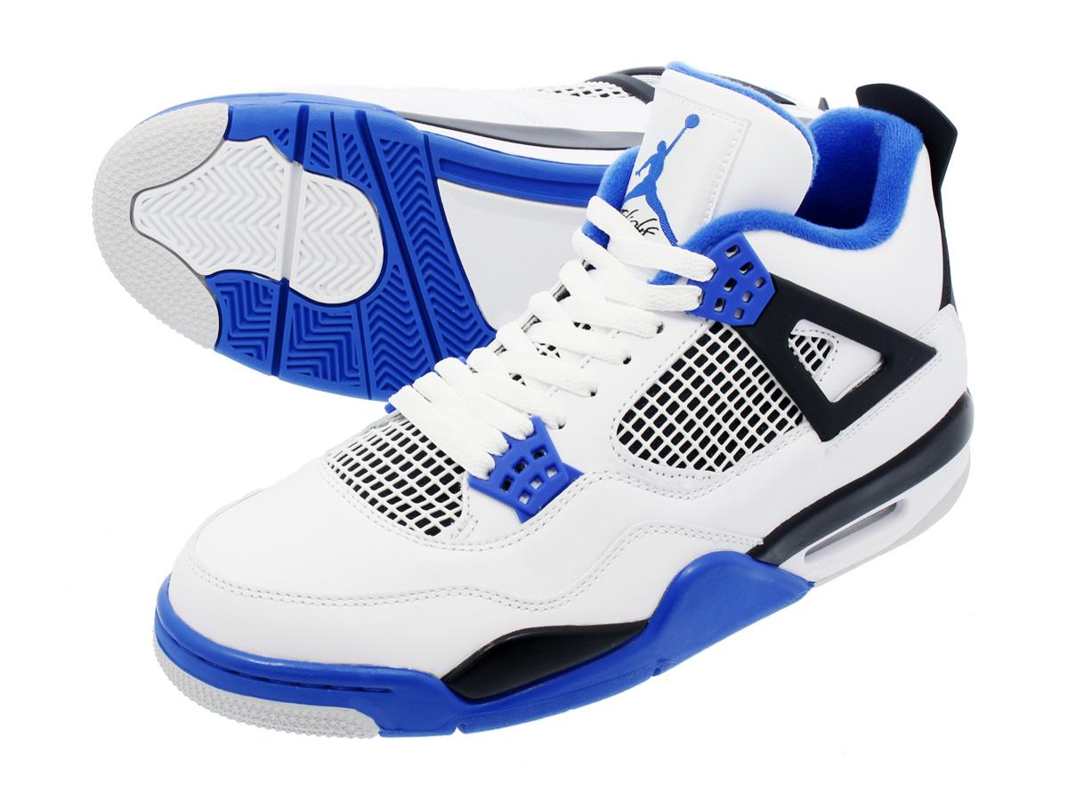 933a20b3eca94 NIKE AIR JORDAN 4 RETRO Nike Air Jordan 4 nostalgic WHITE GAME ROYAL BLACK