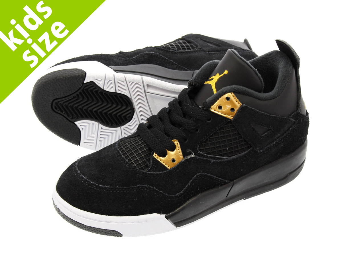 8c259de12e2 NIKE AIR JORDAN 4 RETRO BP Nike Air Jordan 4 nostalgic BP BLACK METALLIC  GOLD WHITE