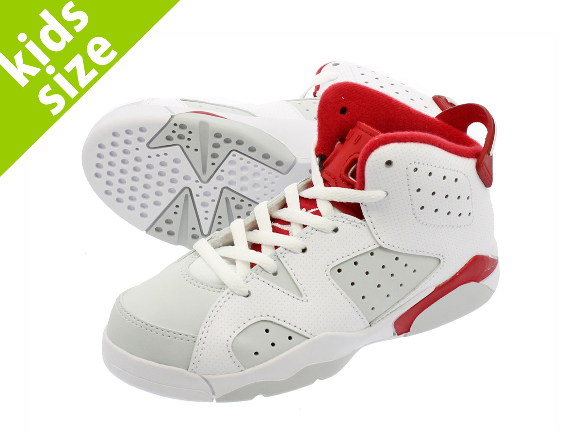 【キッズ サイズ】【16cm-22cm】 NIKE AIR JORDAN 6 RETRO PS 【ALTERNATE】 ナイキ エア ジョーダン 6 レトロ PS WHITE/PLATINUM/GYM RED 384666-113