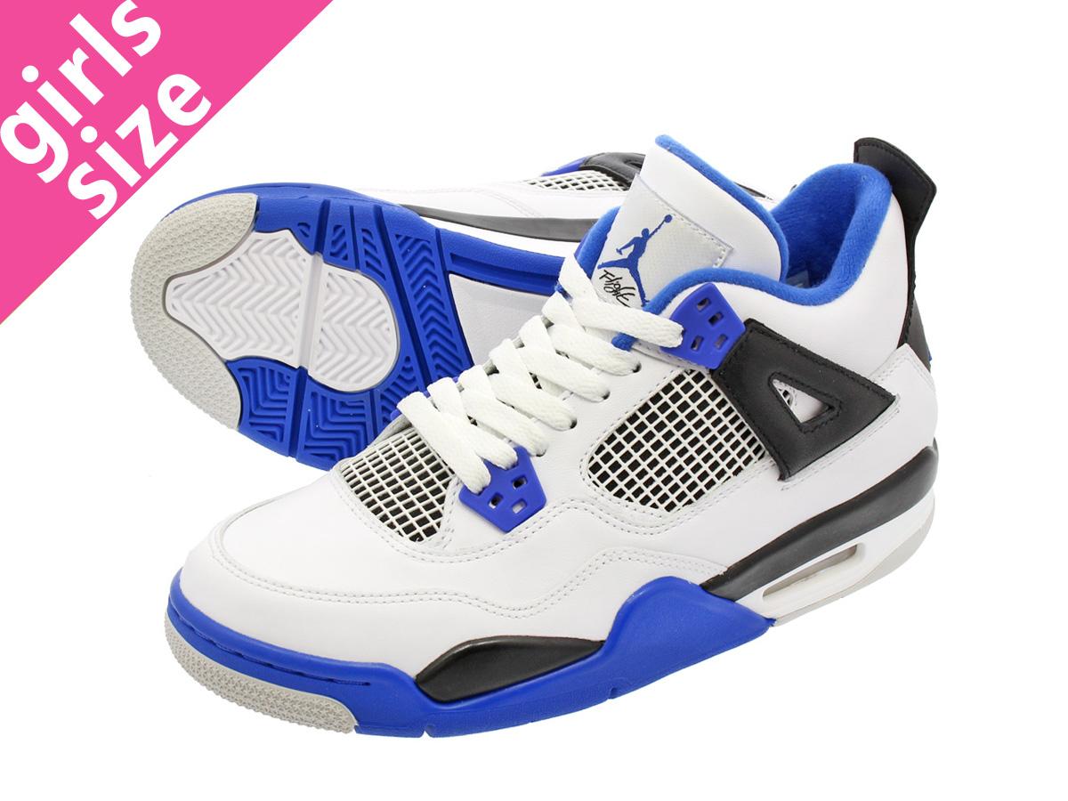 6e3949136bc NIKE AIR JORDAN 4 RETRO BG Nike Air Jordan 4 nostalgic BG WHITE GAME  ROYAL BLACK