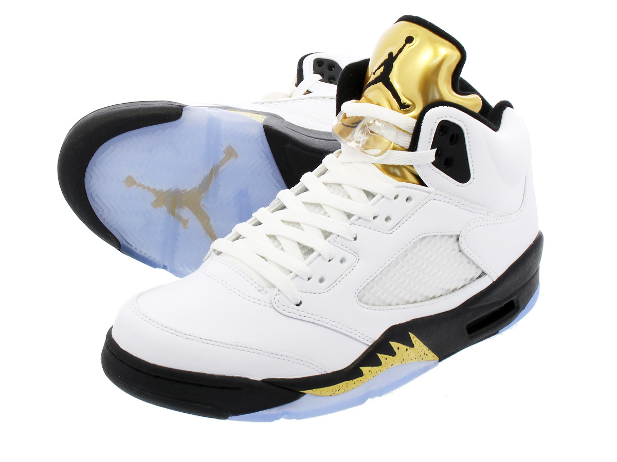 5670021832967c NIKE AIR JORDAN 5 RETRO Nike Air Jordan 5 nostalgic WHITE BLACK METALLIC  GOLD COIN 136