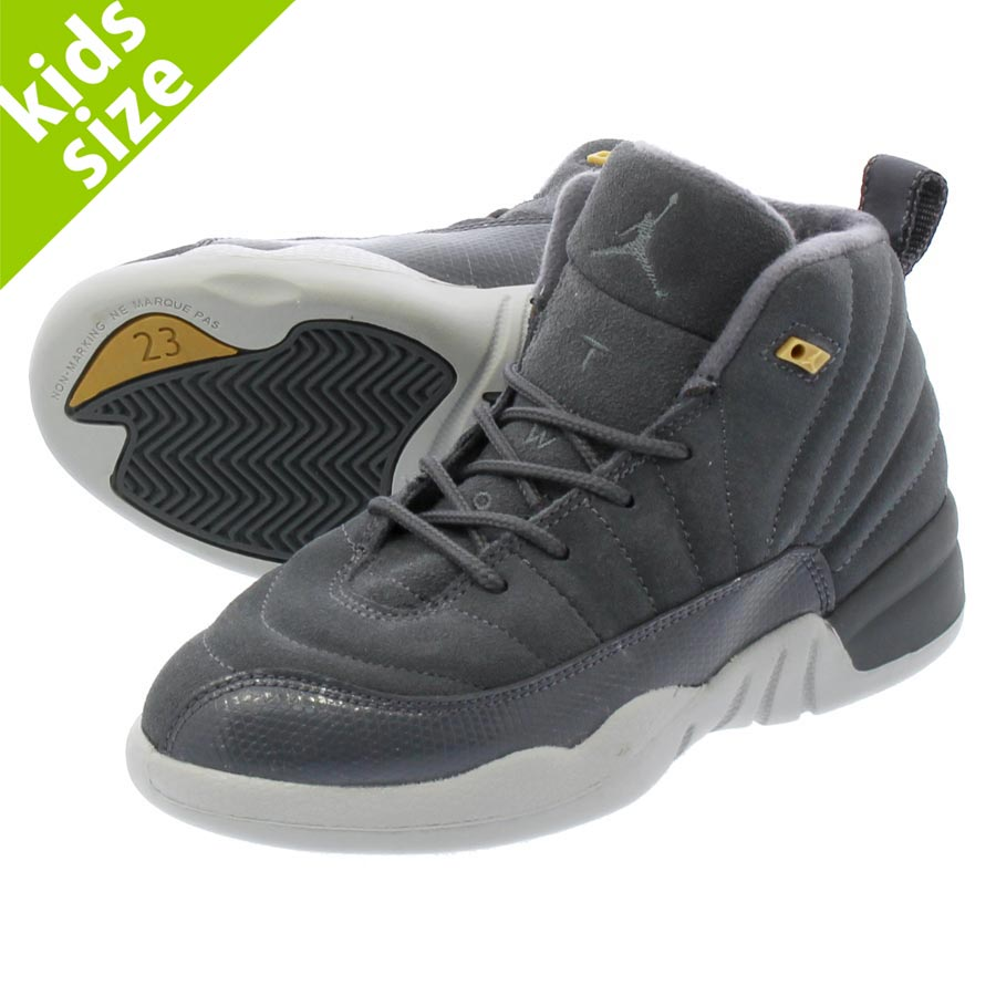 acb560ff326 NIKE AIR JORDAN 12 RETRO PS耐吉空氣喬丹12重新流行PS DARK GREY DARK GREY WOLF GREY