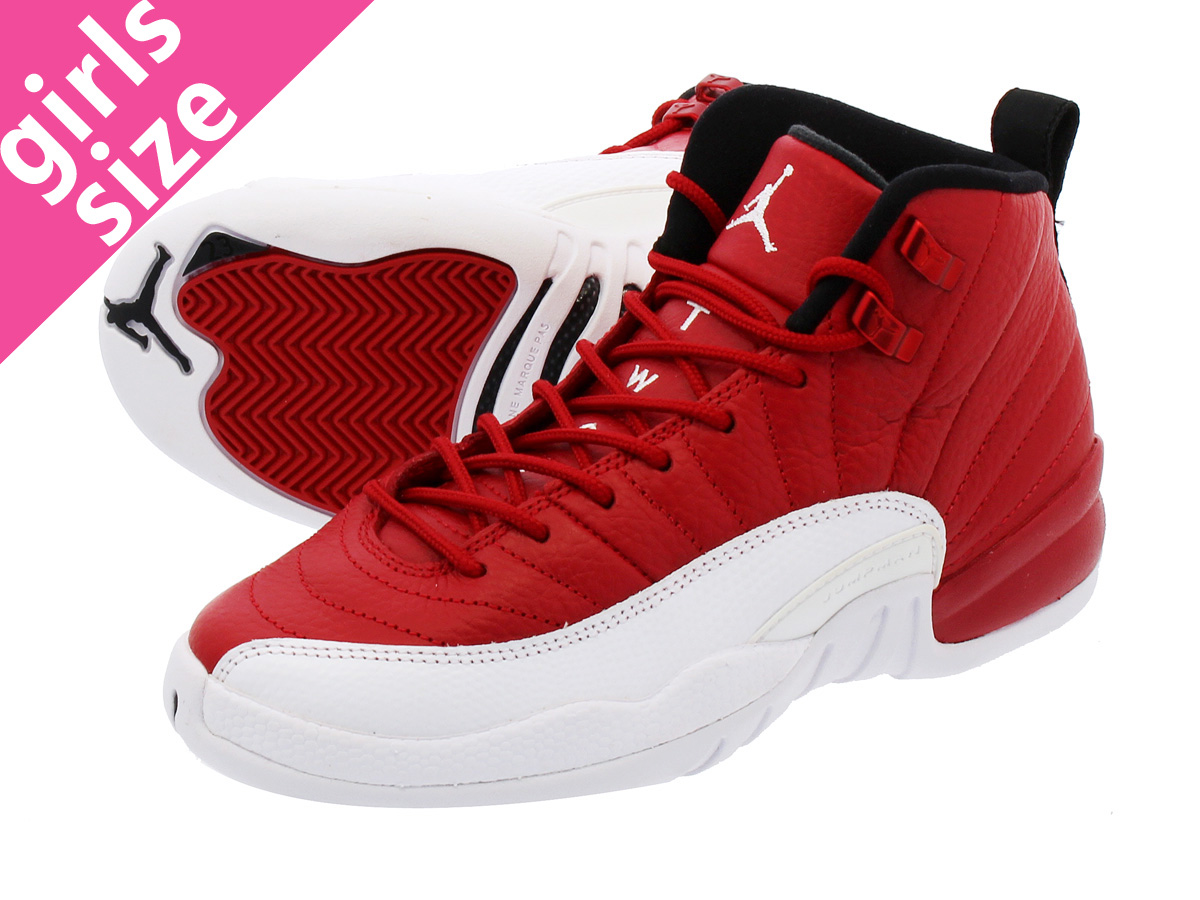 abd3c7784f8 NIKE AIR JORDAN 12 RETRO BG Nike Air Jordan 12 nostalgic BG GYM RED/WHITE  ...