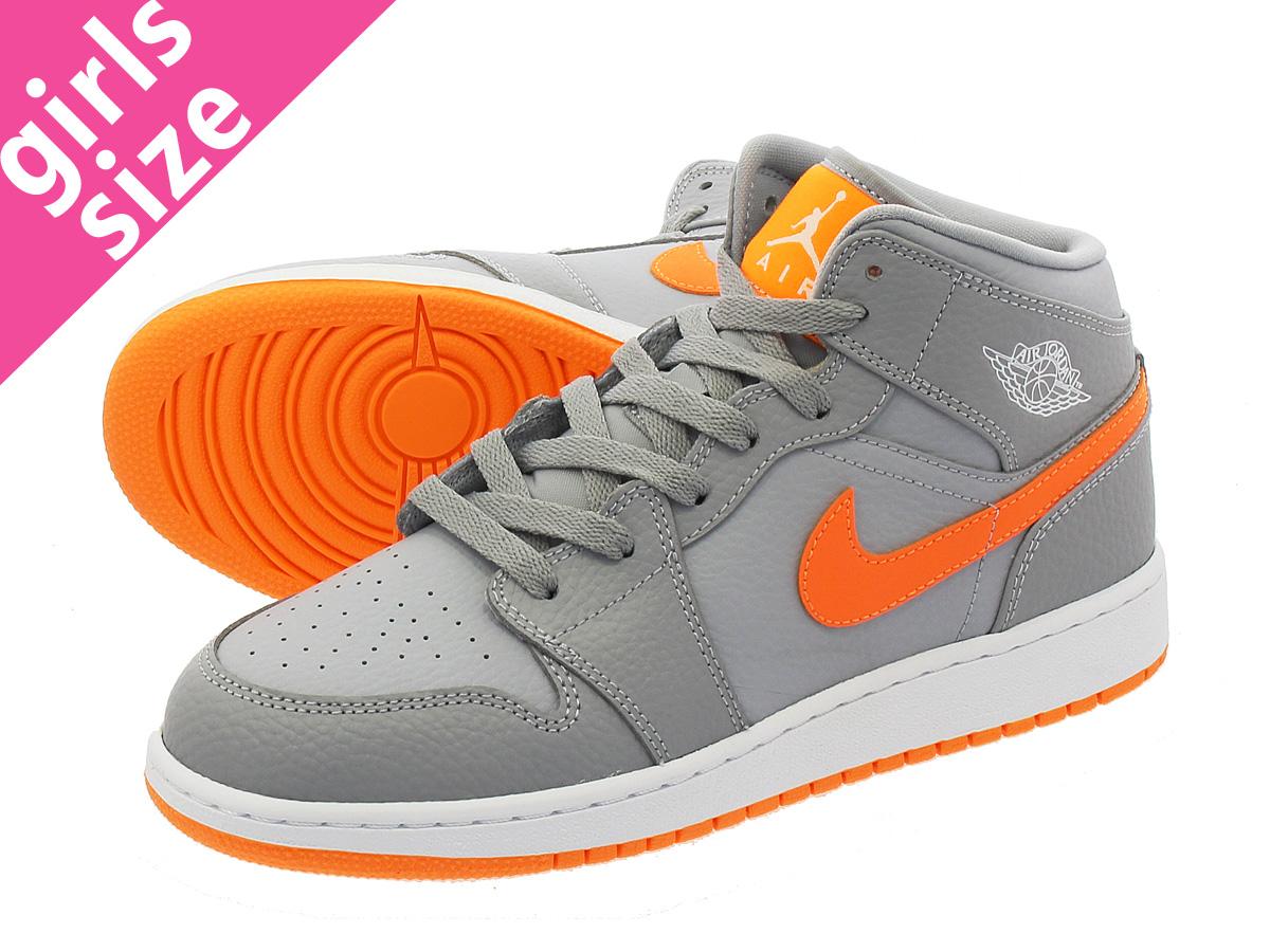 ded0ae878d95f3 NIKE AIR JORDAN 1 MID BG Nike Air Jordan 1 mid BG WOLF GREY BRIGHT  CITRUS WHITE