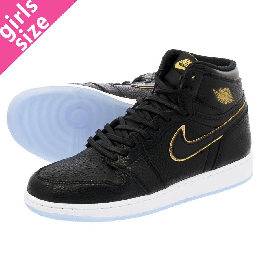 c6ed1594be30 NIKE AIR JORDAN 1 RETRO HIGH OG BG Nike Air Jordan 1 nostalgic high OG BG  BLACK METALLIC GOLD SUMMIT WHITE 575