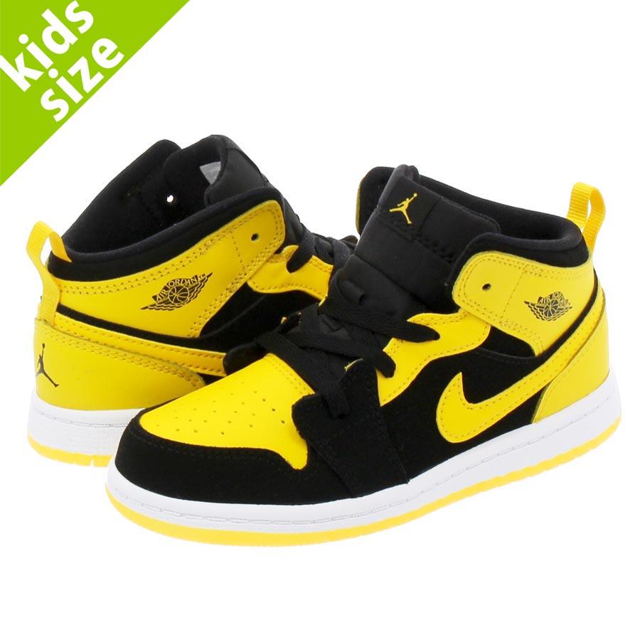 6e0fe392fb12 NIKE AIR JORDAN 1 MID BT Nike Air Jordan 1 mid TD BLACK VARSITY MAIZE WHITE  640
