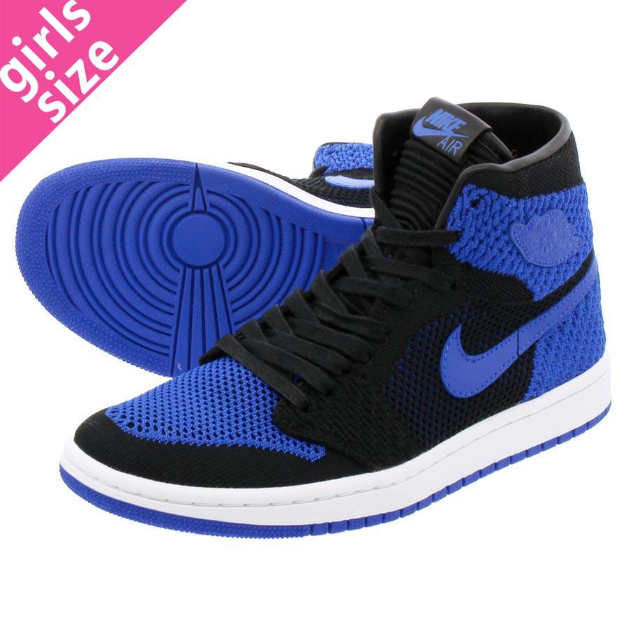0966635f444d1 NIKE AIR JORDAN 1 RETRO HI FLYKNIT BG Nike Air Jordan 1 nostalgic high  fried food knit BG BLACK GAME ROYAL WHITE
