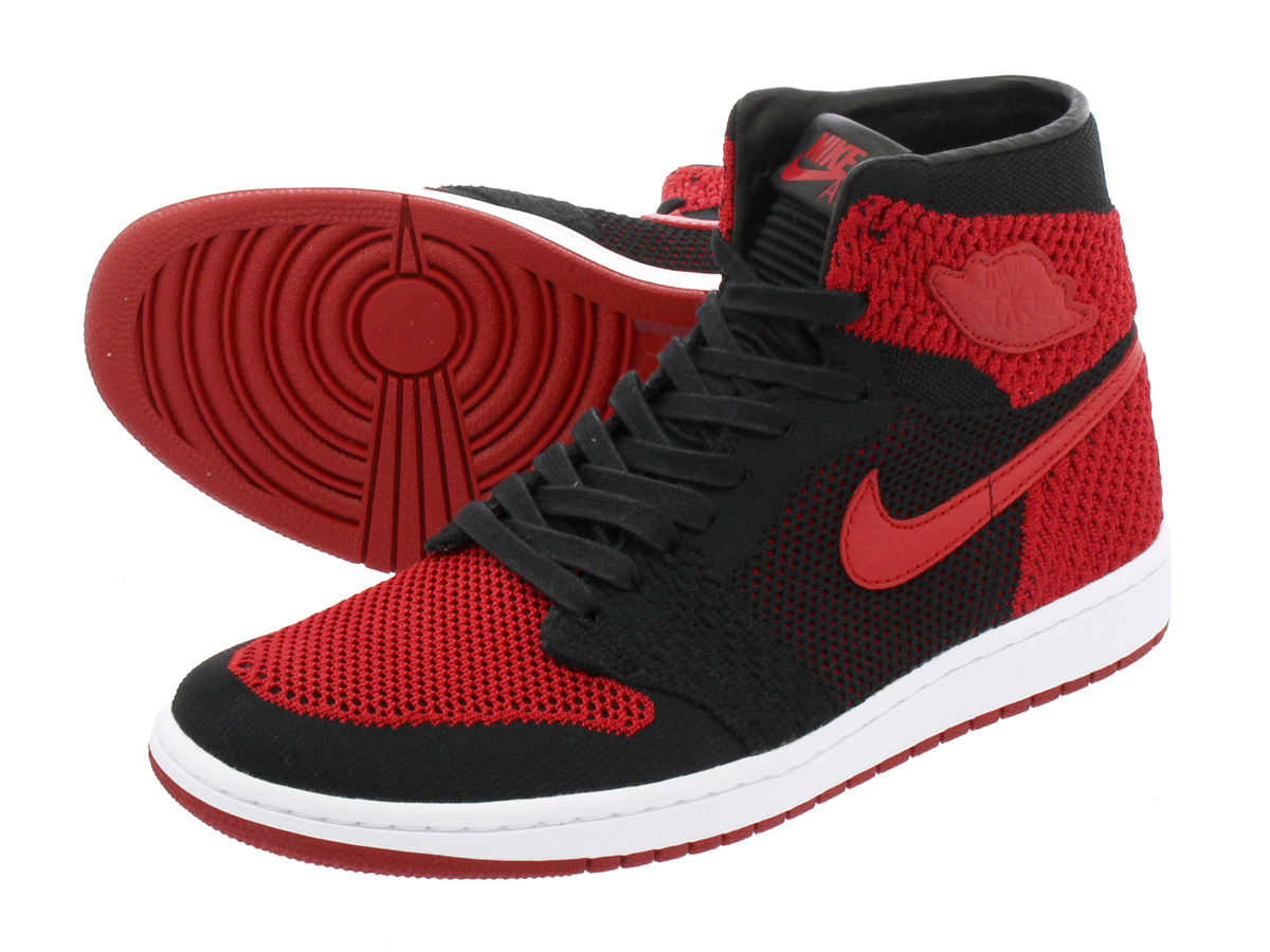 305eaa899ee1 NIKE AIR JORDAN 1 RETRO HI FLYKNIT Nike Air Jordan 1 nostalgic high fried  food knit BLACK VARSITY RED WHITE 919