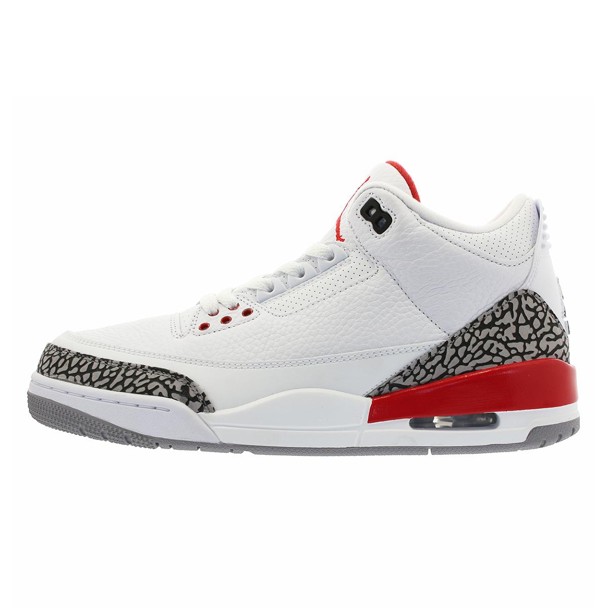 fef6164a6bbc5 NIKE AIR JORDAN 3 RETRO Nike Air Jordan 3 nostalgic WHITE CEMENT GREY FIRE  RED 136