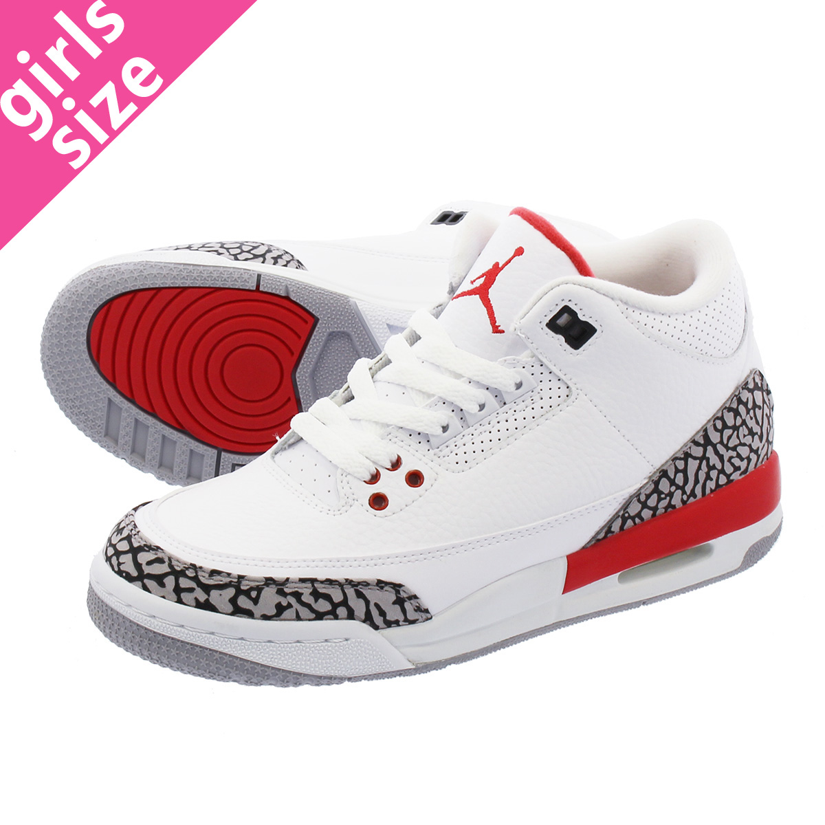1ccd73cbad9753 NIKE AIR JORDAN 3 RETRO BG Nike Air Jordan 3 nostalgic BG WHITE CEMENT GREY FIRE  RED 398