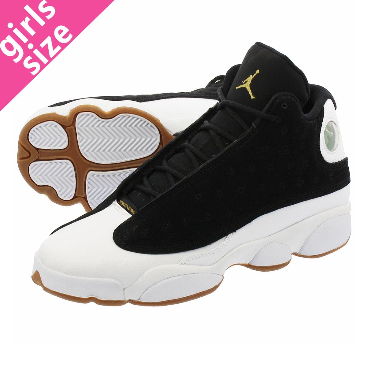new release preview of popular brand NIKE AIR JORDAN 13 RETRO GG Nike Air Jordan 13 nostalgic GG BLACK/METALLIC  GOLD/WHITE/GUM MED BROWN 439,358-021