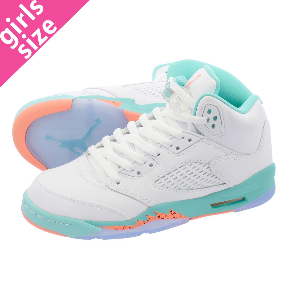 3aa36d7cb1b LOWTEX PLUS  NIKE AIR JORDAN 5 RETRO GG Nike air Jordan 5 nostalgic GG WHITE  CRIMSON PULSE LIGHT AQUA BLACK