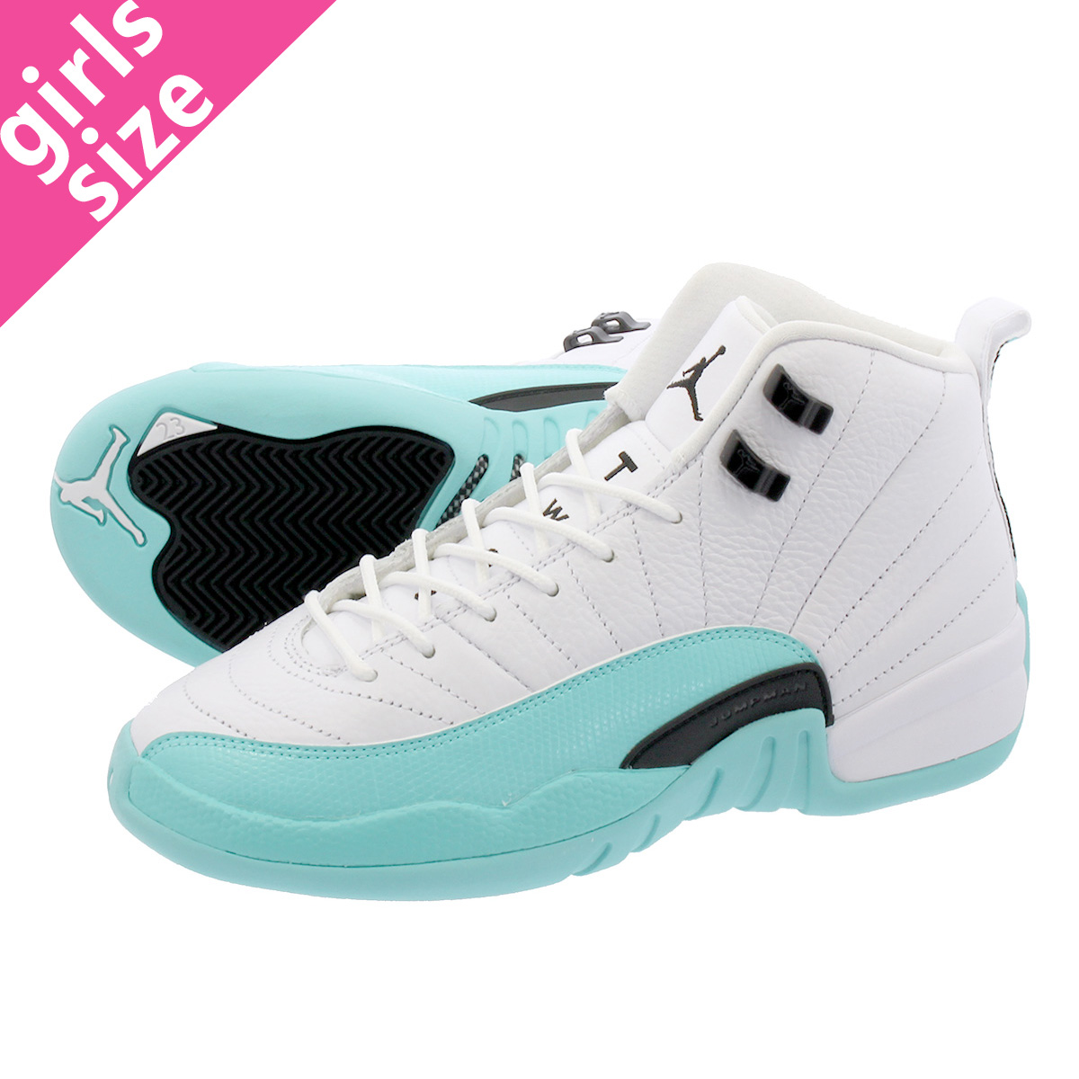 3d4daf9c0f107a NIKE AIR JORDAN 12 RETRO GG Nike Air Jordan 12 nostalgic GG WHITE LIGHT  AQUA BLACK 510