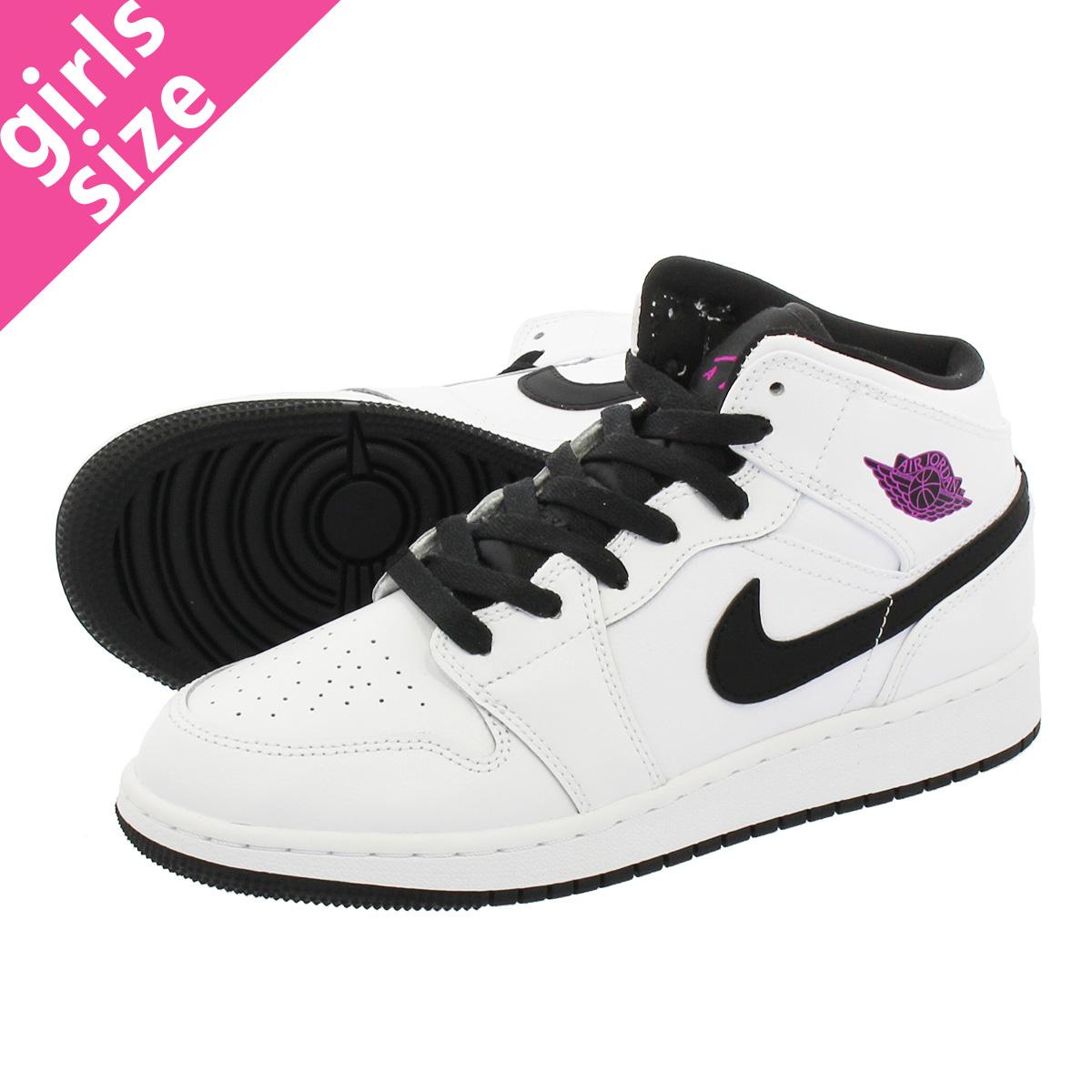 843ee8c08d1b NIKE AIR JORDAN 1 MID GG Nike Air Jordan 1 mid GG WHITE BLACK FUSCHIA BLAST  555