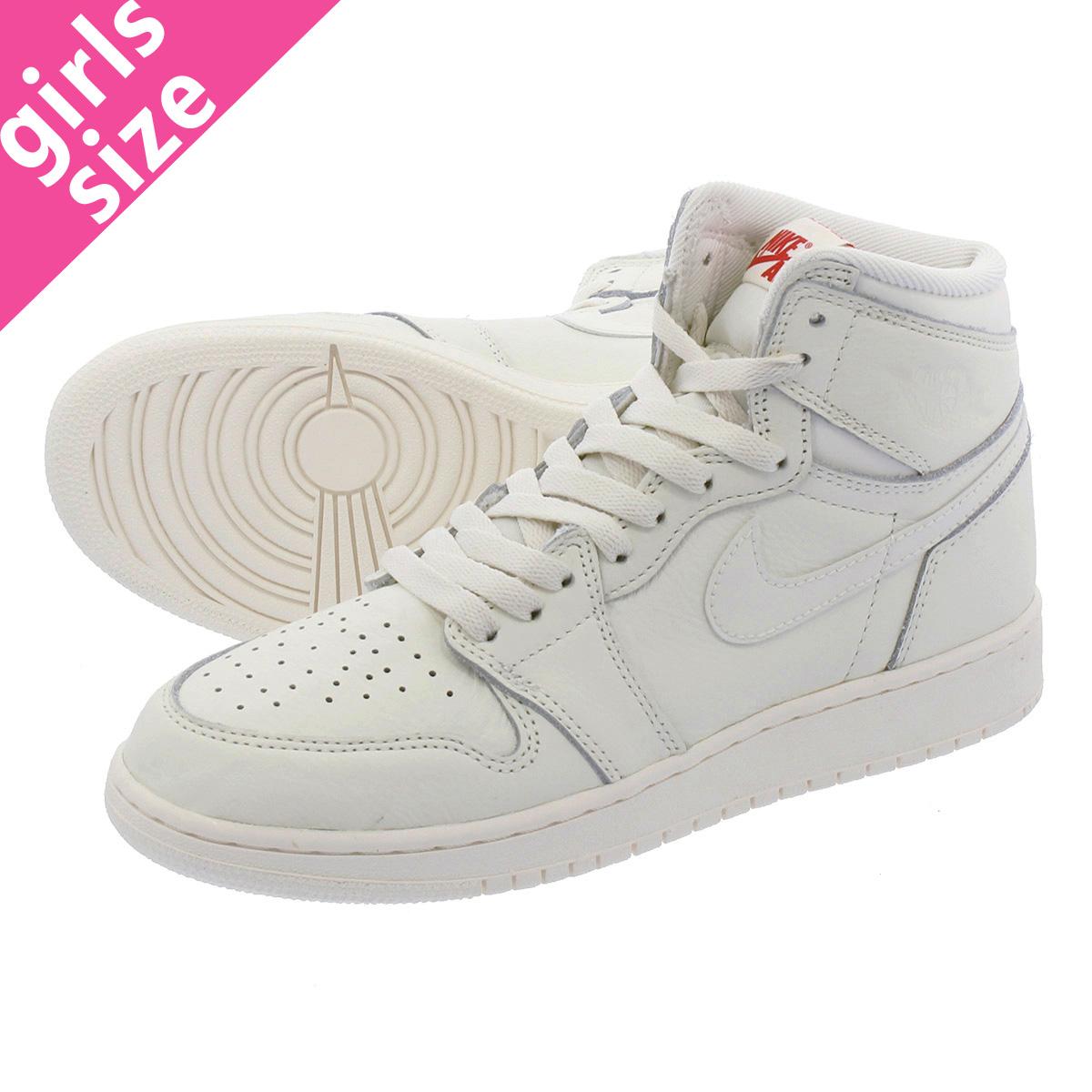 22de21e144a4 NIKE AIR JORDAN 1 RETRO HIGH OG BG Nike Air Jordan 1 nostalgic high OG BG  SAIL UNIVERSITY RED 575