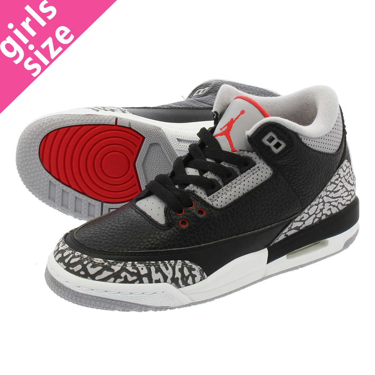 e214bd5be29 NIKE AIR JORDAN 3 RETRO OG BG Nike air Jordan 3 nostalgic OG BG BLACK/FIRE  RED/CEMENT GREY/WHITE 854,261-001
