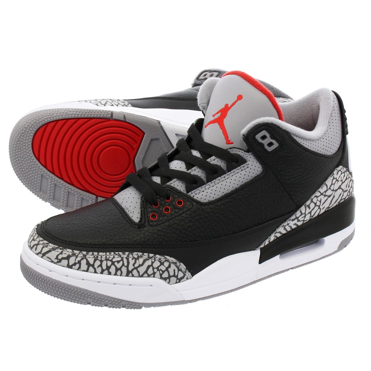 052807501f76ca NIKE AIR JORDAN 3 RETRO OG Nike Air Jordan 3 nostalgic OG BLACK FIRE RED CEMENT  GREY WHITE