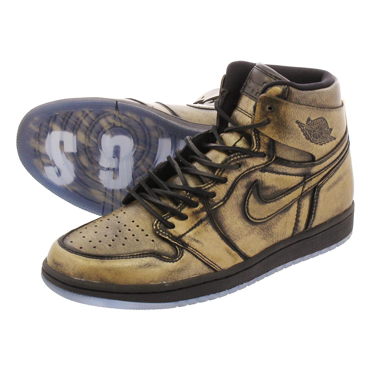 160450e499e NIKE AIR JORDAN 1 RETRO HIGH OG Nike Air Jordan 1 nostalgic high OG  BLACK METALLIC GOLD aa2887-035