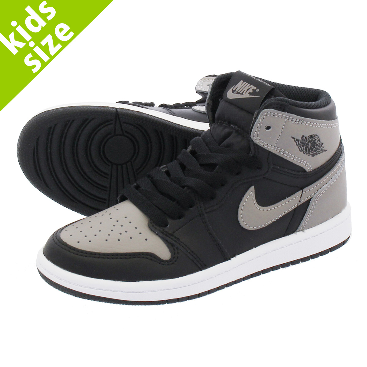 【キッズサイズ】【16-22cm】 NIKE AIR JORDAN 1 RETRO HIGH OG BP 【SHADOW】 ナイキ エア ジョーダン 1 レトロ ハイ OG BP BLACK/MEDIUM GREY/WHITE aq2664-013