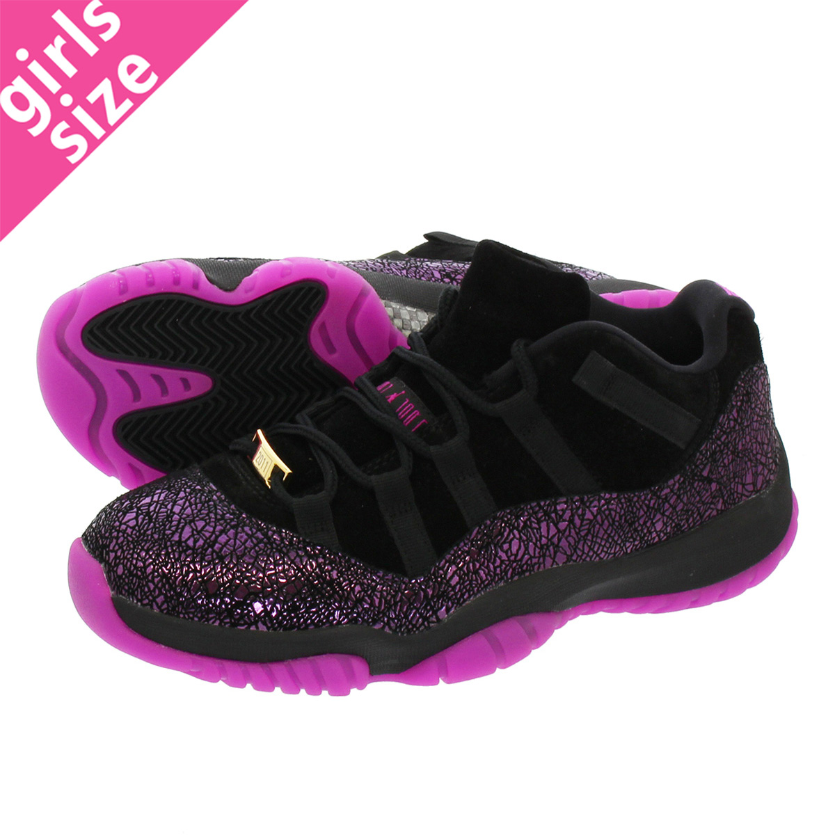watch cd87c 6e32e NIKE WMNS AIR JORDAN 11 RETRO LOW Nike women Air Jordan 11 nostalgic low  BLACK/FUCHSIA BLAST ar5149-005