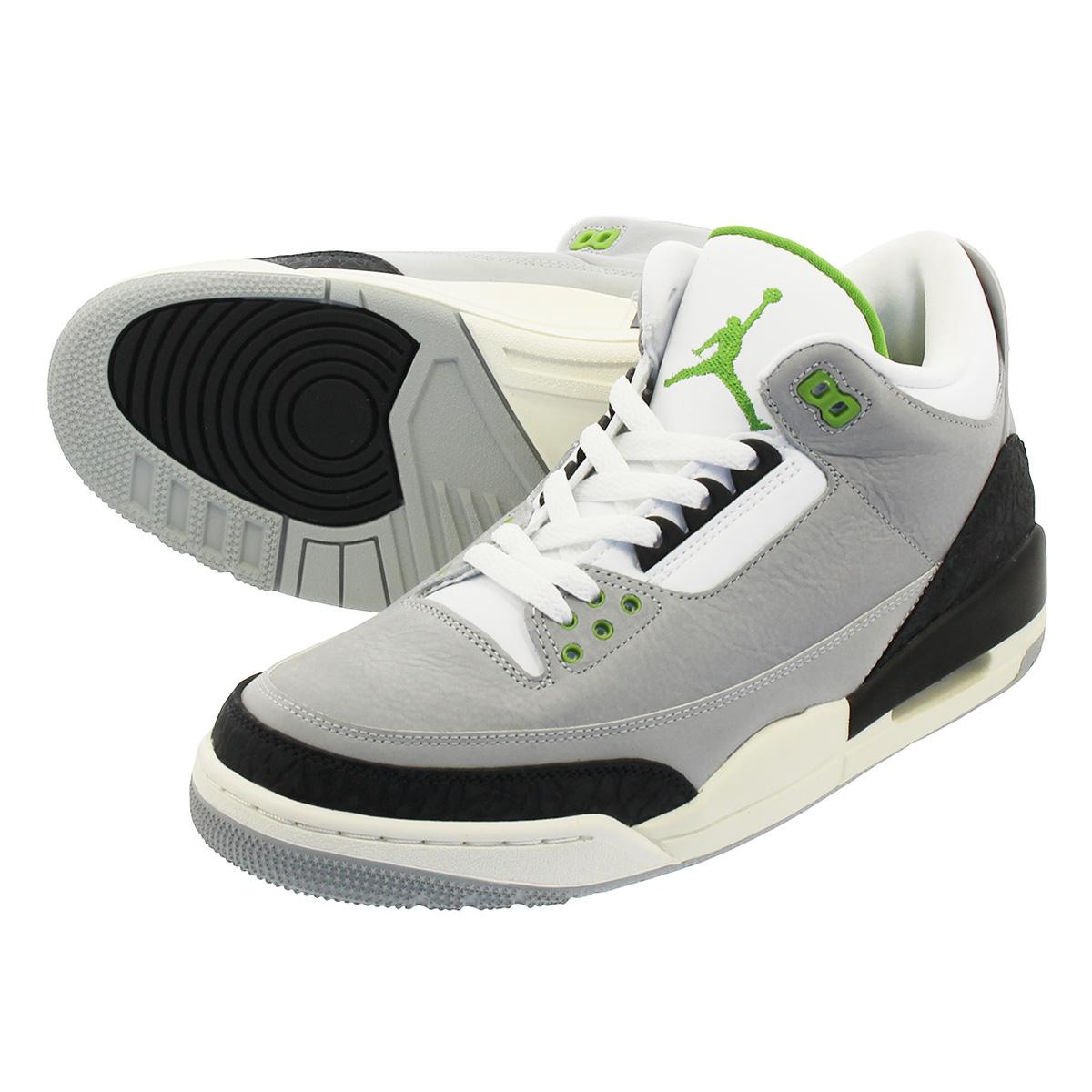 NIKE AIR JORDAN 3 RETRO Nike Air Jordan 3 nostalgic LIGHT SMOKE  GREY CHLOROPHYLL BLACK WHITE 136 a06e25370b5