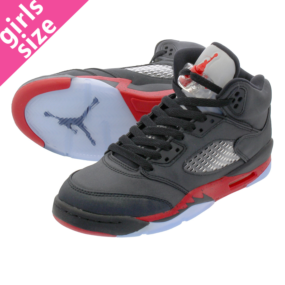 the latest d1ecf e290b NIKE AIR JORDAN 5 RETRO GS Nike Air Jordan 5 nostalgic GS BLACK UNIVERSITY  RED 440,888-006