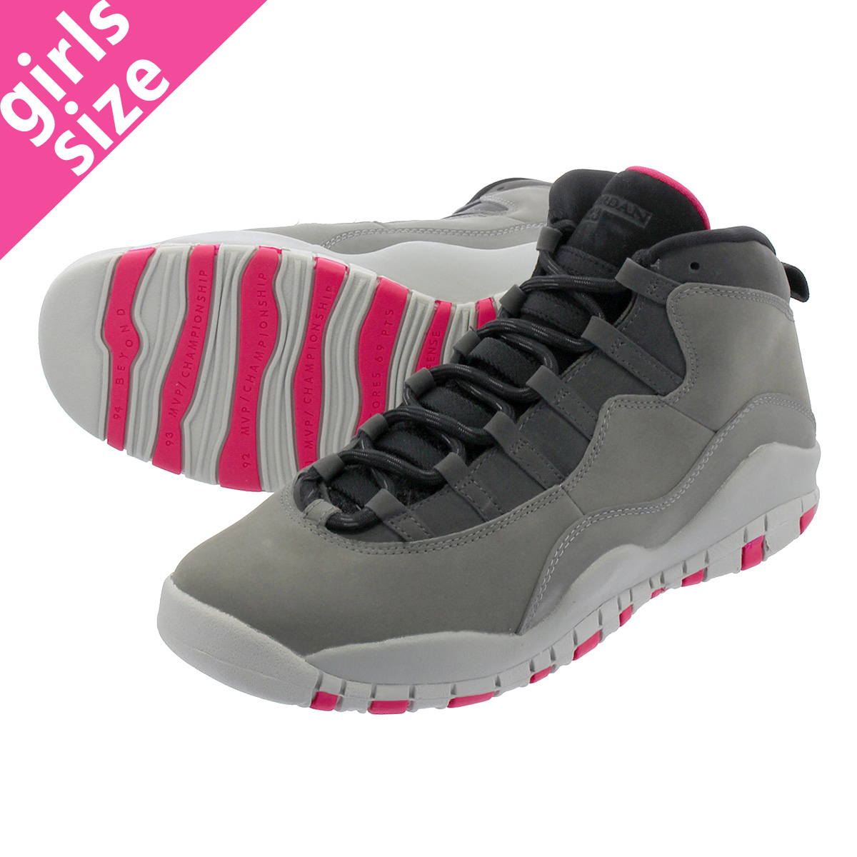 LOWTEX PLUS  NIKE AIR JORDAN 10 RETRO GG Nike Air Jordan 10 nostalgic GG DARK  SMOKE GREY RUSH PINK BLACK IRON GREY 487 104cc2ef9