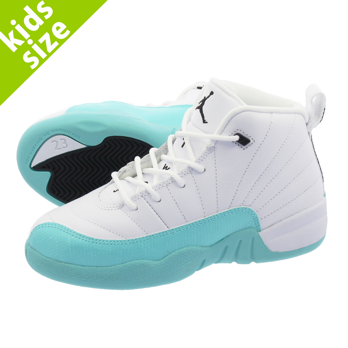 innovative design fcb01 161f7 NIKE AIR JORDAN 12 RETRO PS Nike Air Jordan 12 nostalgic PS WHITE/LIGHT  AQUA/BLACK 510,816-100
