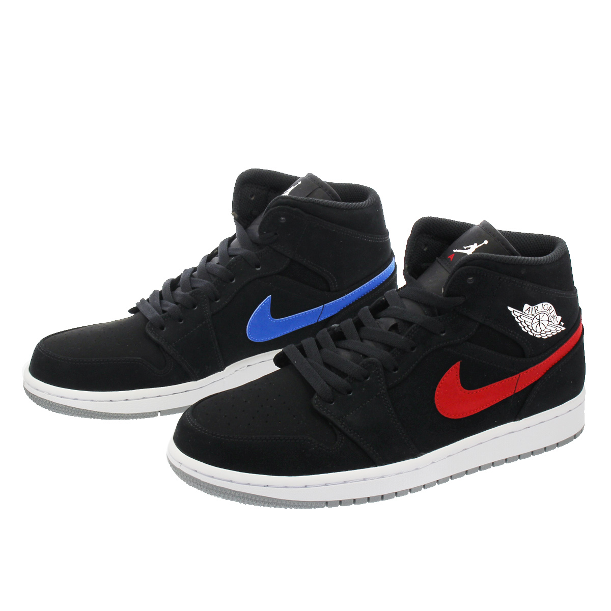 ac38a21e4d453a NIKE AIR JORDAN 1 MID Nike Air Jordan 1 mid BLACK MULTI COLOR RED BLUE  554