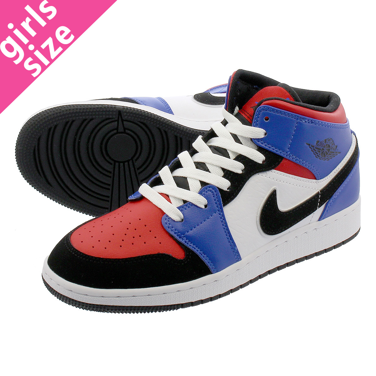 LOWTEX PLUS  NIKE AIR JORDAN 1 MID BG Nike Air Jordan 1 mid BG  WHITE BLACK HYPER ROYAL 554 4b83caa97