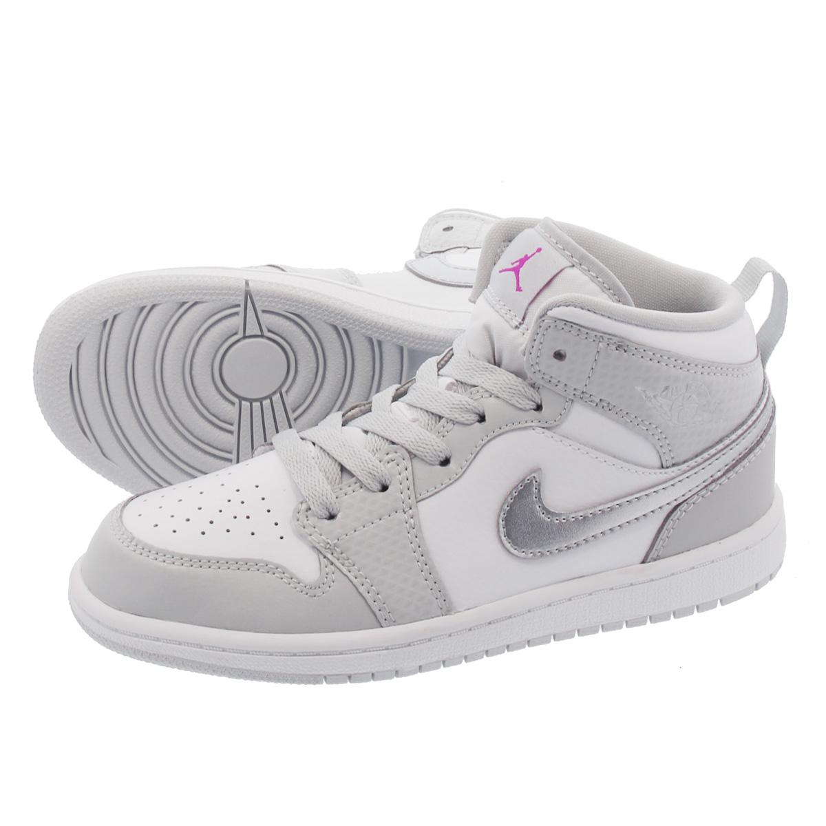 e22f10207cbd LOWTEX PLUS  NIKE AIR JORDAN 1 MID PS Nike Air Jordan 1 mid PS GREY  FOG DEADLY PINK METALLIC SILVER 640
