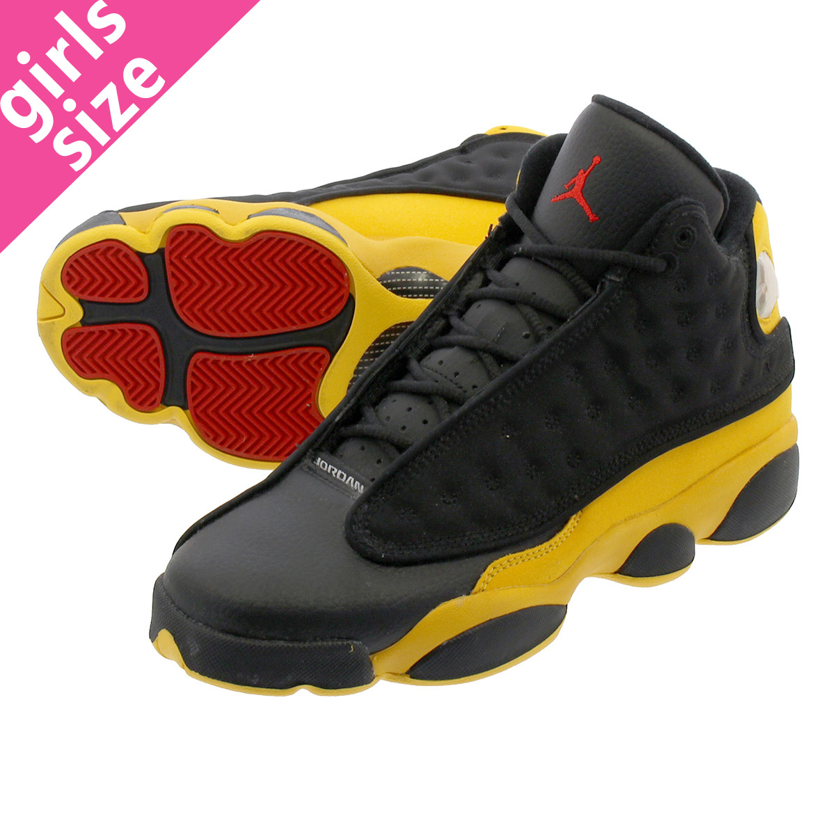 dae82ec4aff1 NIKE AIR JORDAN 13 RETRO BG Nike Air Jordan 13 nostalgic BG BLACK UNIVERSITY  RED UNIVERSITY GOLD 884