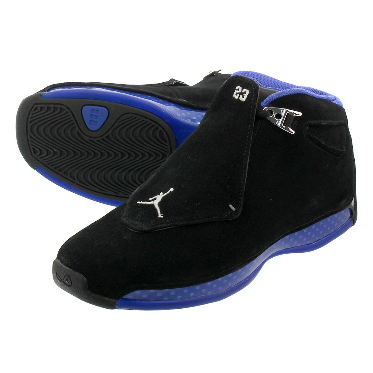 c98c7ccbede52a NIKE AIR JORDAN 18 RETRO Nike Air Jordan 18 nostalgic BLACK METALLIC  SILVER SPORT ROYAL aa2494-007