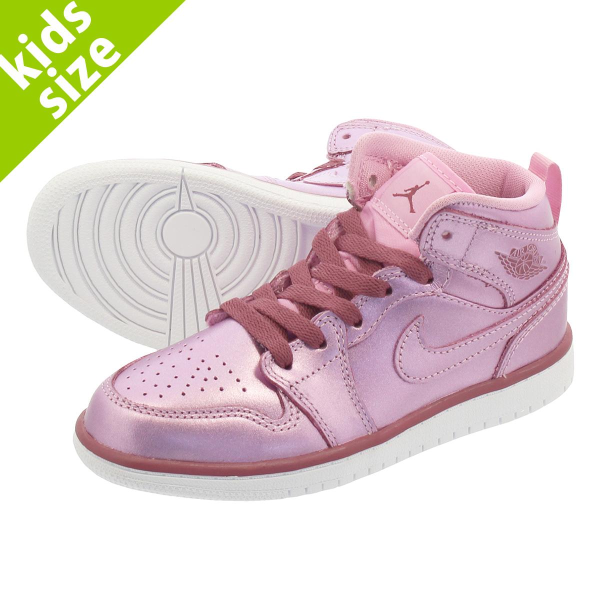 super popular 4c237 81ec5 NIKE AIR JORDAN 1 MID SE PS Nike Air Jordan 1 mid SE PS PINK RISE WHITE NOBLE  RED av5173-640